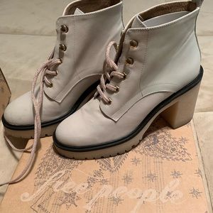 White Leather Free People Boots